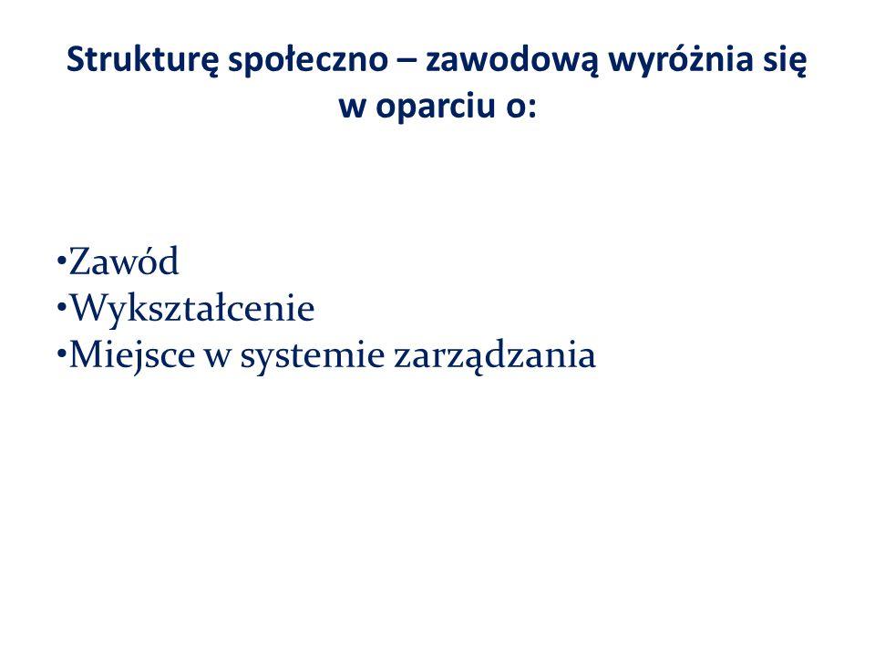 Strukturę społeczno – zawodową wyróżnia się w oparciu o: Zawód Wykształcenie Miejsce w systemie zarządzania
