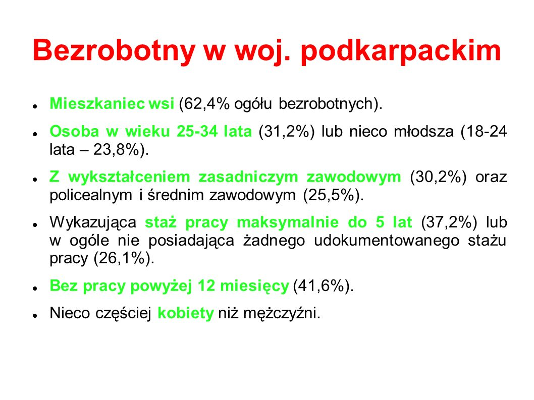 Bezrobotny w woj.podkarpackim Mieszkaniec wsi (62,4% ogółu bezrobotnych).