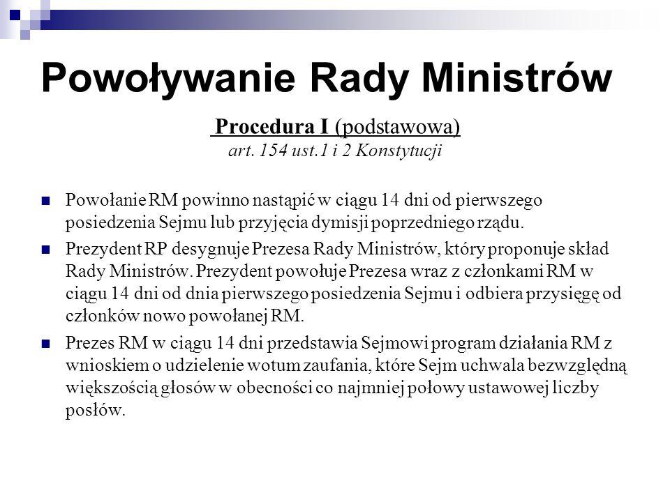 Powoływanie Rady Ministrów Procedura I (podstawowa) art.