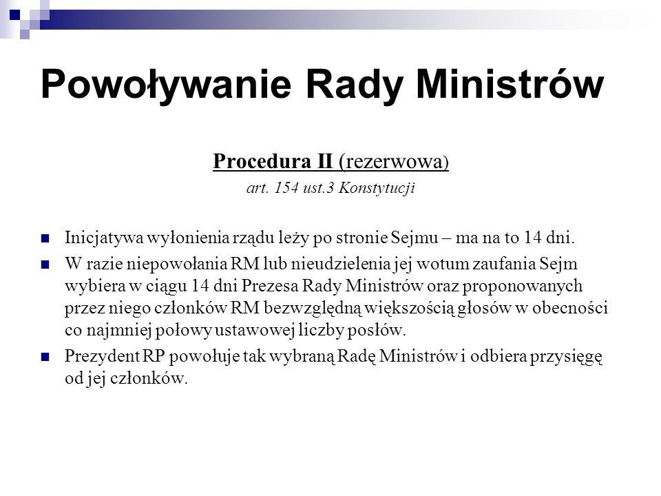 Powoływanie Rady Ministrów Procedura II (rezerwowa ) art.