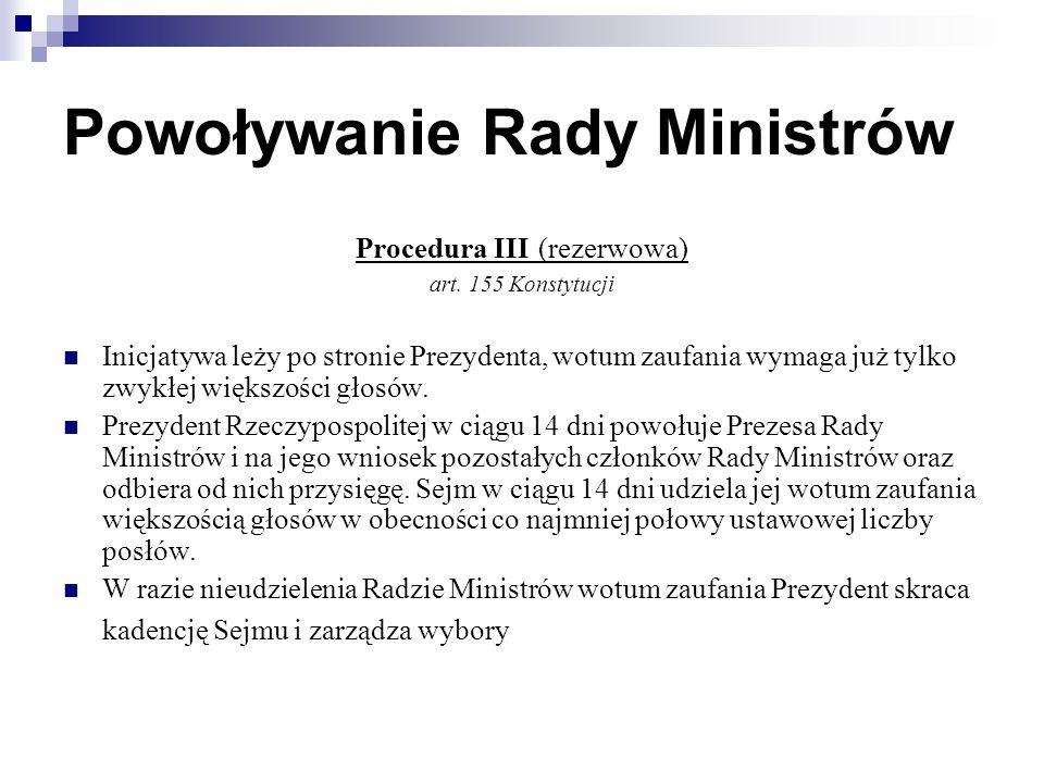 Powoływanie Rady Ministrów Procedura III (rezerwowa) art.