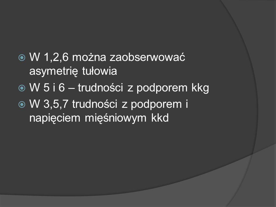 W 1,2,6 można zaobserwować asymetrię tułowia W 5 i 6 – trudności z podporem kkg W 3,5,7 trudności z podporem i napięciem mięśniowym kkd