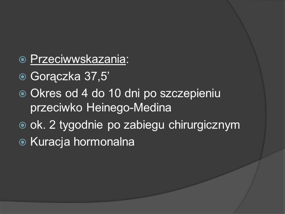 Przeciwwskazania: Gorączka 37,5 Okres od 4 do 10 dni po szczepieniu przeciwko Heinego-Medina ok. 2 tygodnie po zabiegu chirurgicznym Kuracja hormonaln