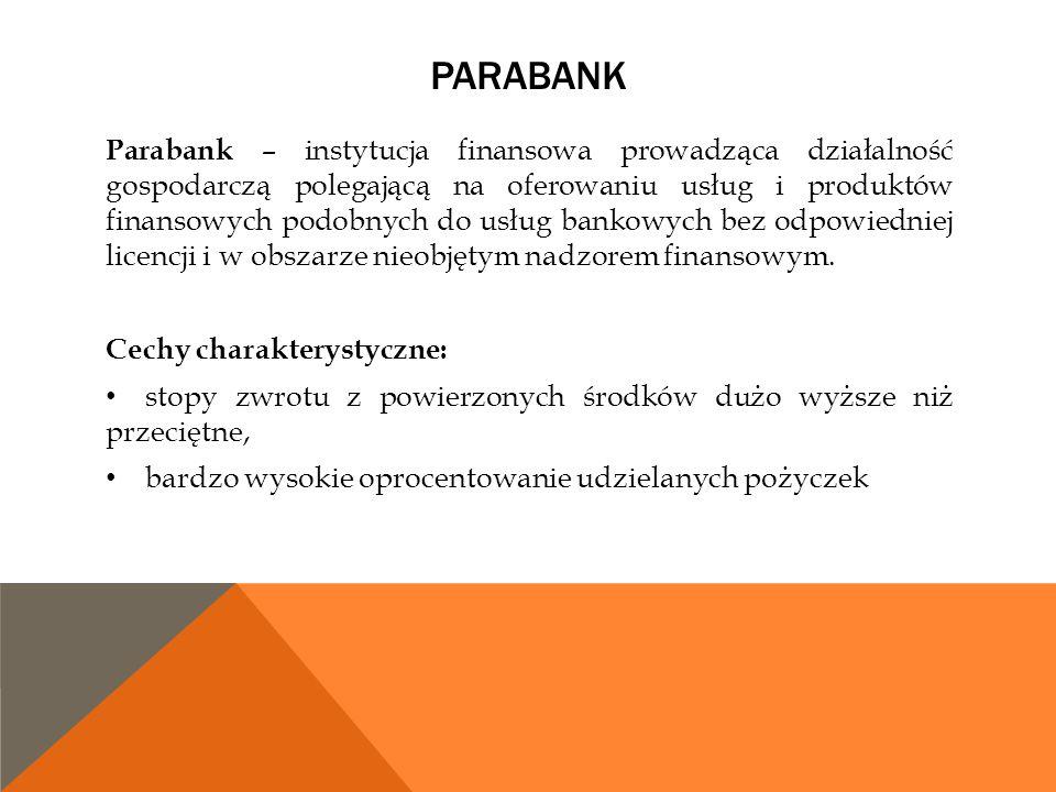 PARABANK Parabank – instytucja finansowa prowadząca działalność gospodarczą polegającą na oferowaniu usług i produktów finansowych podobnych do usług
