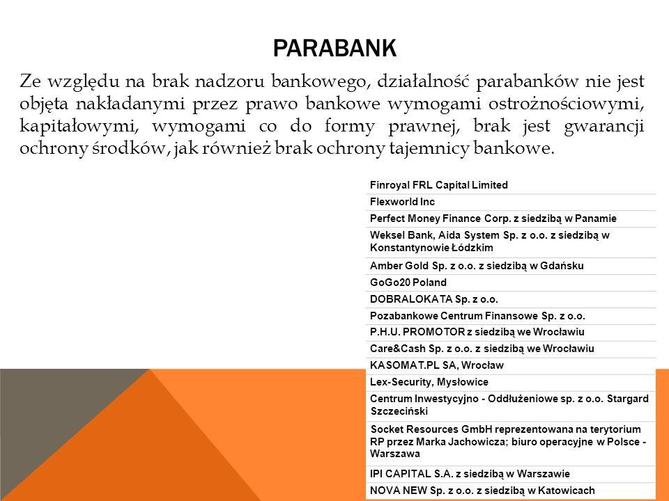 PARABANK Ze względu na brak nadzoru bankowego, działalność parabanków nie jest objęta nakładanymi przez prawo bankowe wymogami ostrożnościowymi, kapit