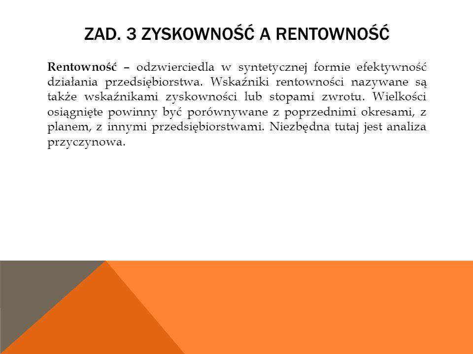 ZAD. 3 ZYSKOWNOŚĆ A RENTOWNOŚĆ Rentowność – odzwierciedla w syntetycznej formie efektywność działania przedsiębiorstwa. Wskaźniki rentowności nazywane