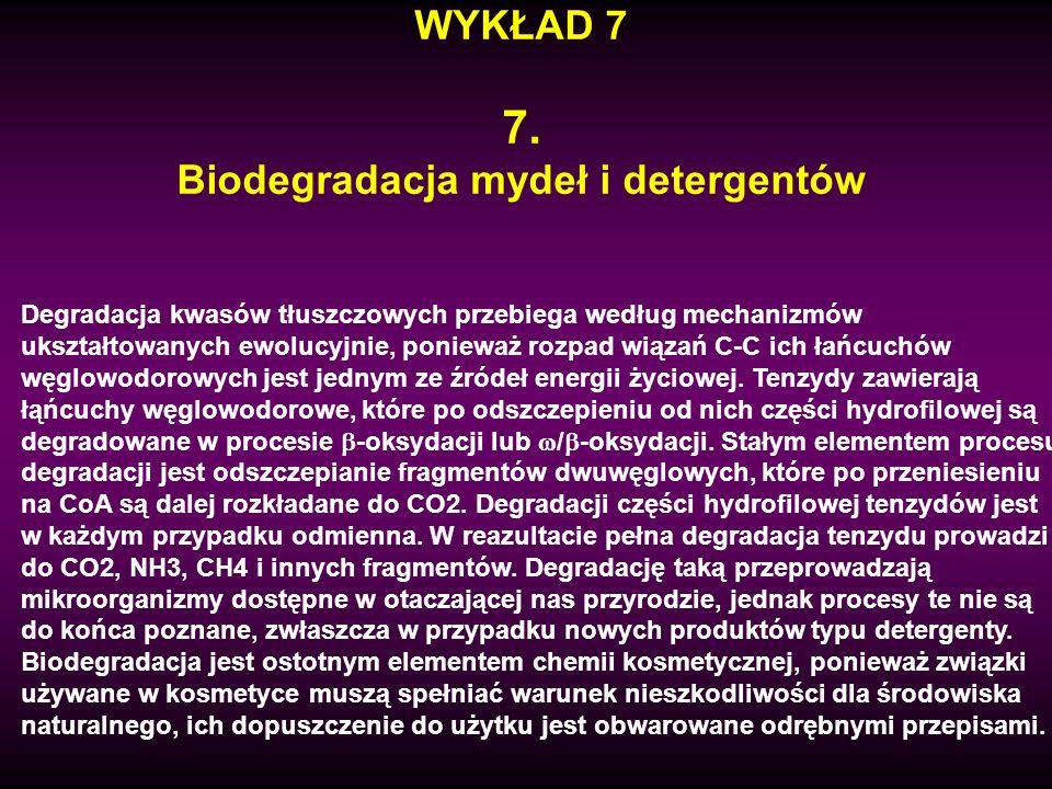 WYKŁAD 7 7. Biodegradacja mydeł i detergentów Degradacja kwasów tłuszczowych przebiega według mechanizmów ukształtowanych ewolucyjnie, ponieważ rozpad
