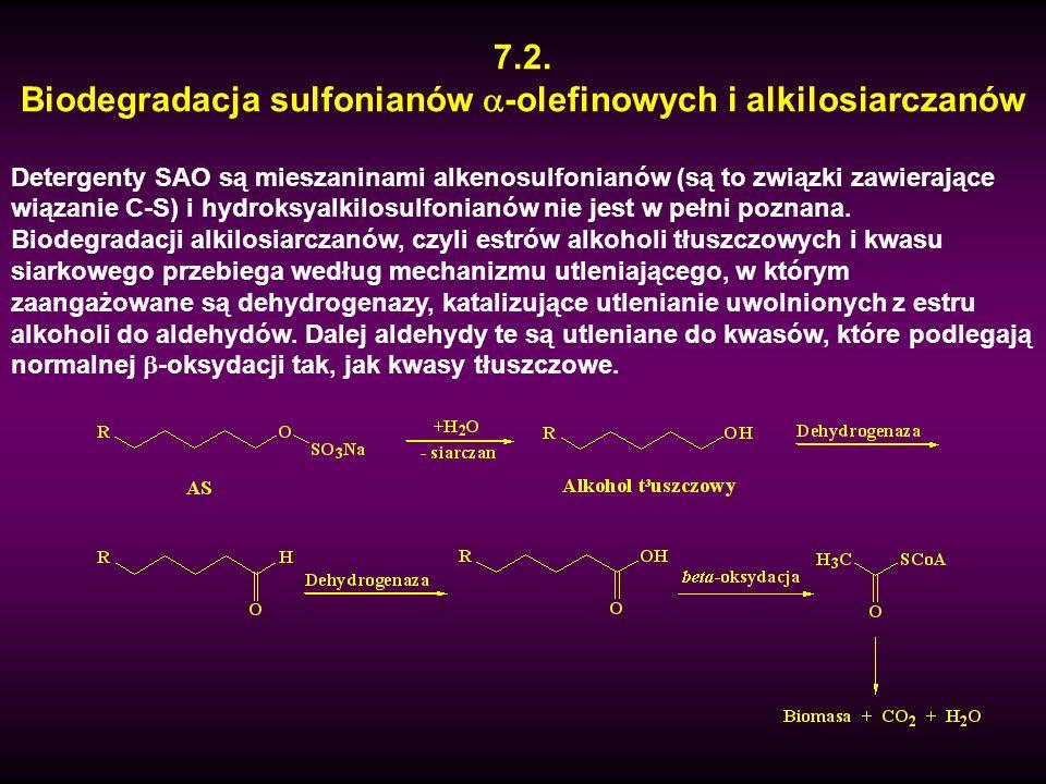 7.2. Biodegradacja sulfonianów -olefinowych i alkilosiarczanów Detergenty SAO są mieszaninami alkenosulfonianów (są to związki zawierające wiązanie C-