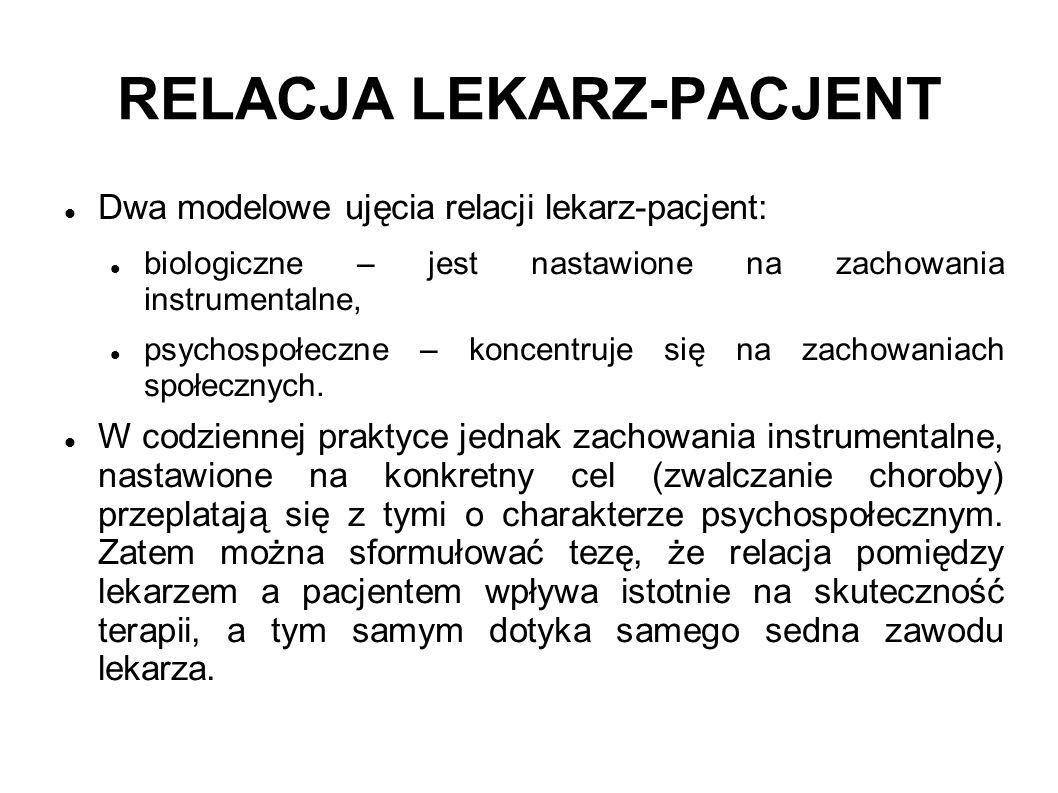 RELACJA LEKARZ-PACJENT Dwa modelowe ujęcia relacji lekarz-pacjent: biologiczne – jest nastawione na zachowania instrumentalne, psychospołeczne – konce