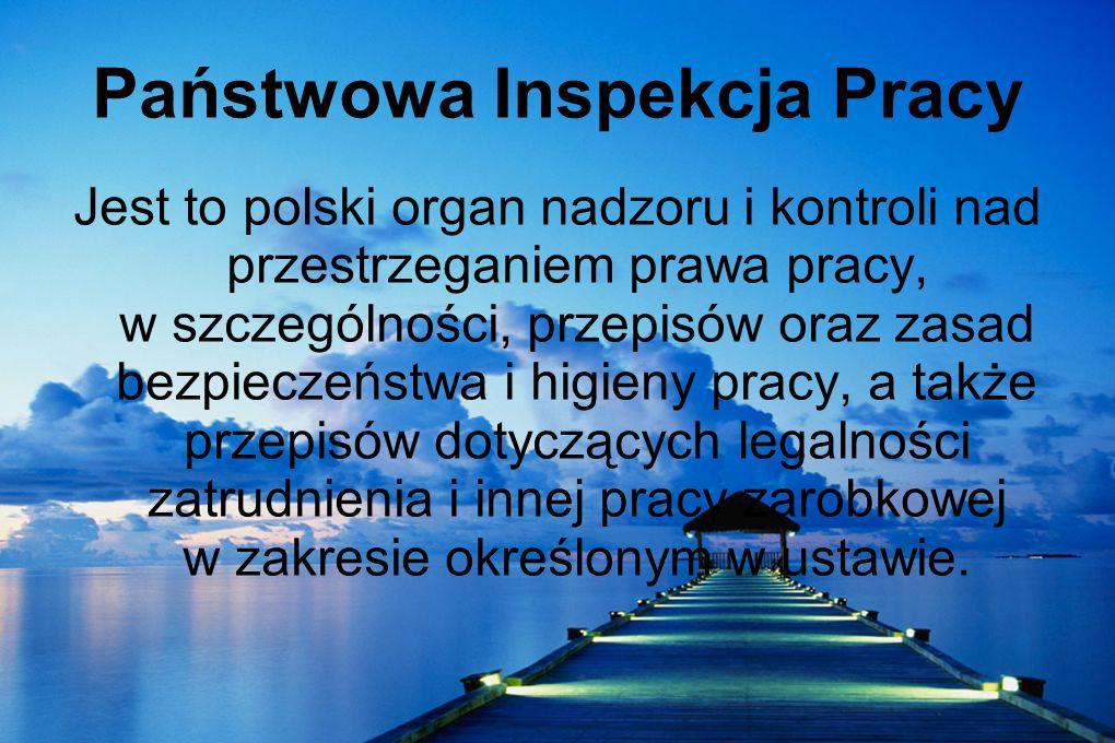 Państwowa Inspekcja Pracy Jest to polski organ nadzoru i kontroli nad przestrzeganiem prawa pracy, w szczególności, przepisów oraz zasad bezpieczeństw