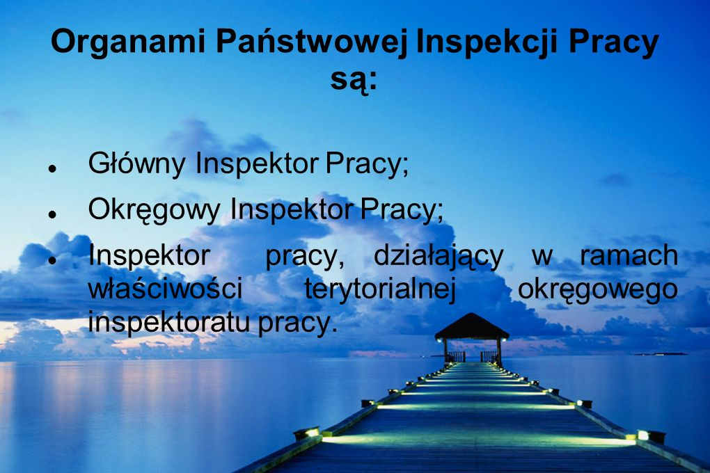 Organami Państwowej Inspekcji Pracy są: Główny Inspektor Pracy; Okręgowy Inspektor Pracy; Inspektor pracy, działający w ramach właściwości terytorialn