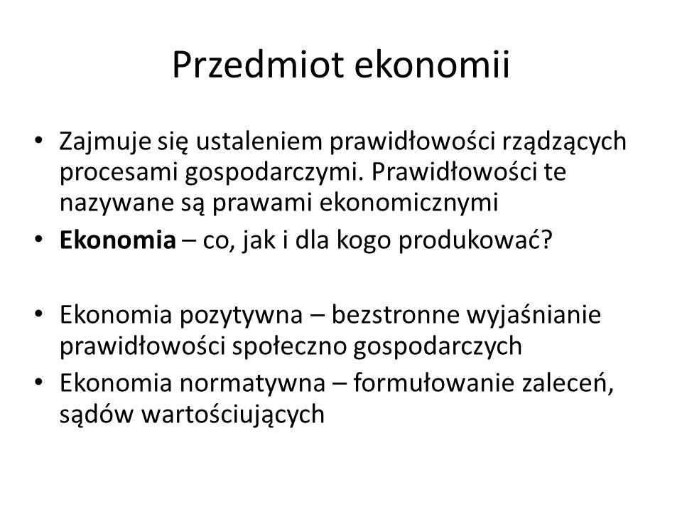 Przedmiot ekonomii Zajmuje się ustaleniem prawidłowości rządzących procesami gospodarczymi. Prawidłowości te nazywane są prawami ekonomicznymi Ekonomi