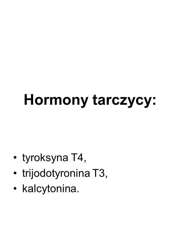 Hormony tarczycy: tyroksyna T4, trijodotyronina T3, kalcytonina.