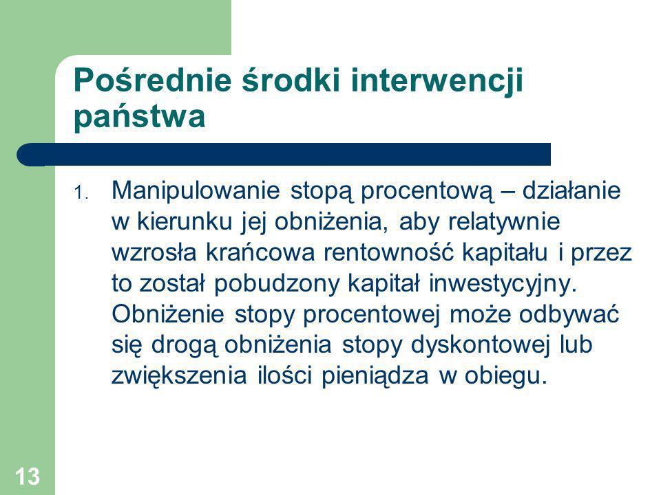 13 Pośrednie środki interwencji państwa 1. Manipulowanie stopą procentową – działanie w kierunku jej obniżenia, aby relatywnie wzrosła krańcowa rentow