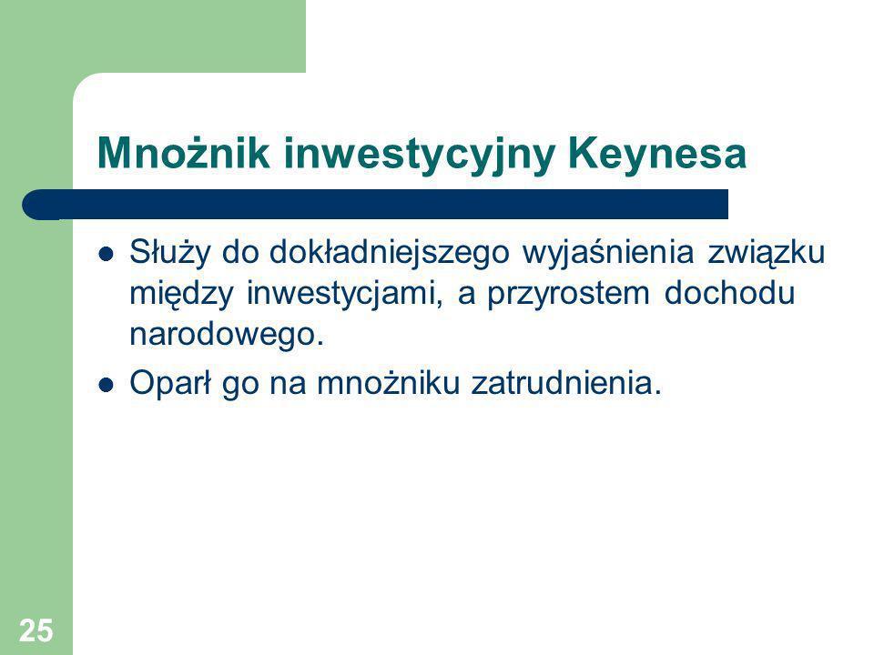 25 Mnożnik inwestycyjny Keynesa Służy do dokładniejszego wyjaśnienia związku między inwestycjami, a przyrostem dochodu narodowego. Oparł go na mnożnik