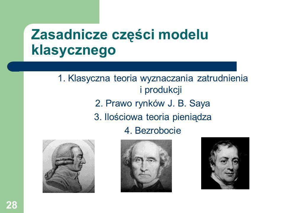 28 Zasadnicze części modelu klasycznego 1. Klasyczna teoria wyznaczania zatrudnienia i produkcji 2. Prawo rynków J. B. Saya 3. Ilościowa teoria pienią