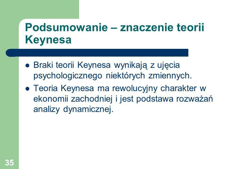 35 Podsumowanie – znaczenie teorii Keynesa Braki teorii Keynesa wynikają z ujęcia psychologicznego niektórych zmiennych. Teoria Keynesa ma rewolucyjny