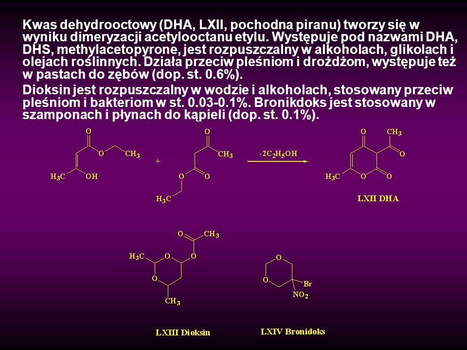 Kwas dehydrooctowy (DHA, LXII, pochodna piranu) tworzy się w wyniku dimeryzacji acetylooctanu etylu. Występuje pod nazwami DHA, DHS, methylacetopyrone
