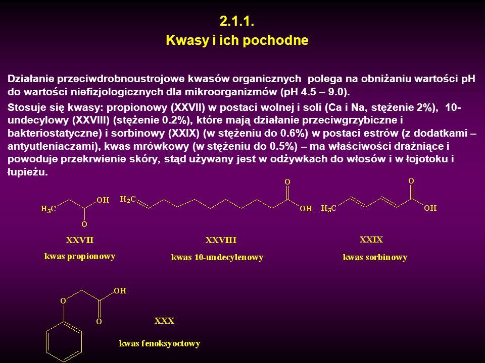 2.1.1. Kwasy i ich pochodne Działanie przeciwdrobnoustrojowe kwasów organicznych polega na obniżaniu wartości pH do wartości niefizjologicznych dla mi