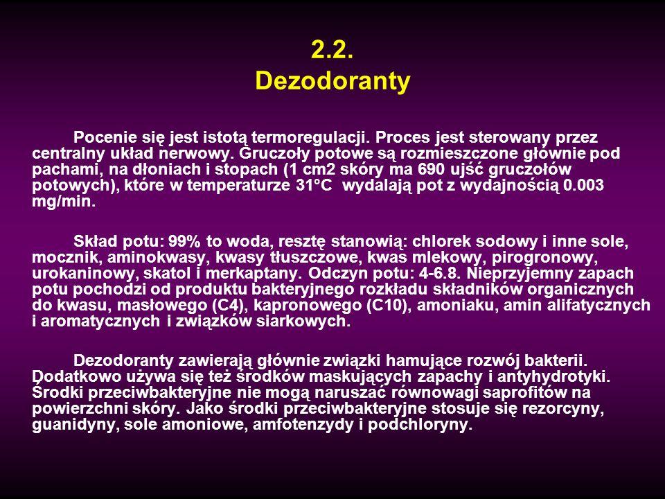 2.2. Dezodoranty Pocenie się jest istotą termoregulacji. Proces jest sterowany przez centralny układ nerwowy. Gruczoły potowe są rozmieszczone głównie