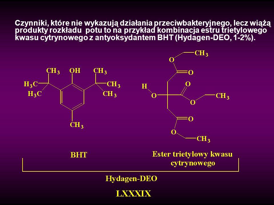Czynniki, które nie wykazują działania przeciwbakteryjnego, lecz wiążą produkty rozkładu potu to na przykład kombinacja estru trietylowego kwasu cytry