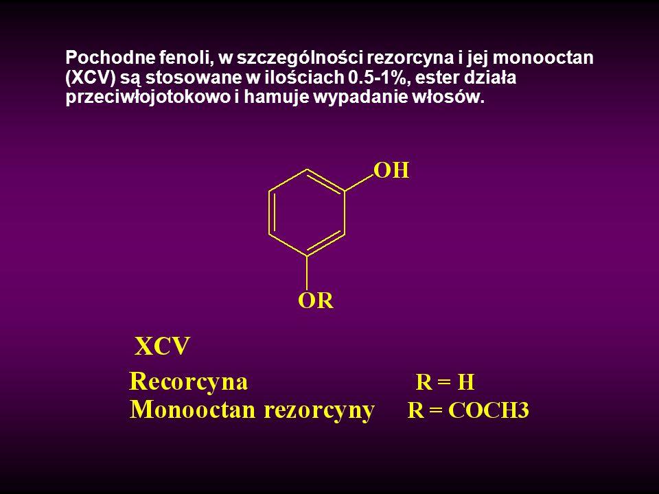 Pochodne fenoli, w szczególności rezorcyna i jej monooctan (XCV) są stosowane w ilościach 0.5-1%, ester działa przeciwłojotokowo i hamuje wypadanie wł
