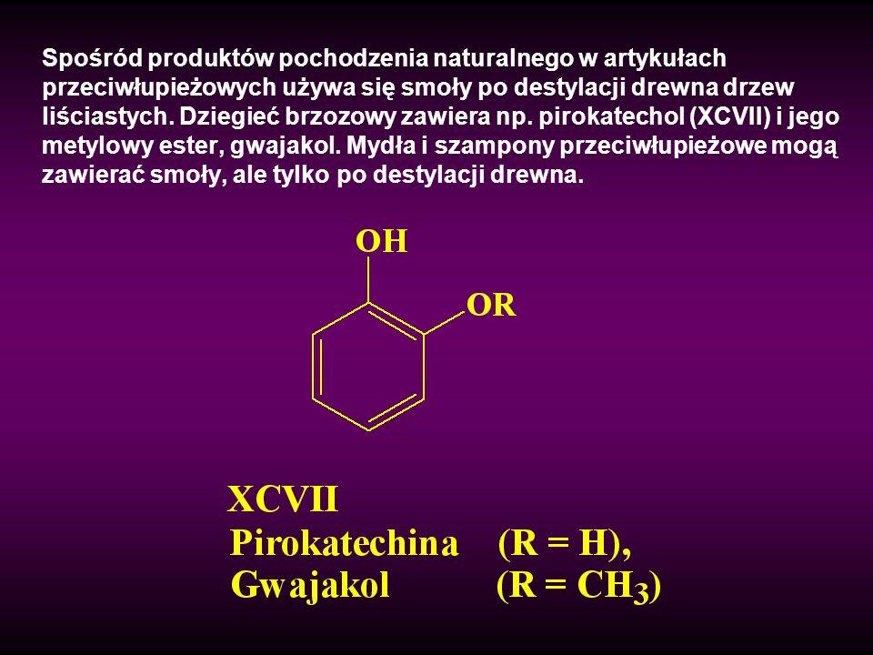 Spośród produktów pochodzenia naturalnego w artykułach przeciwłupieżowych używa się smoły po destylacji drewna drzew liściastych. Dziegieć brzozowy za