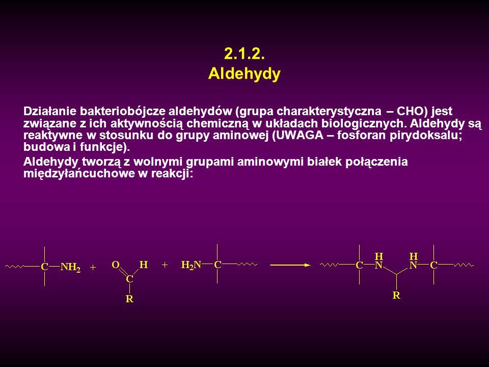 2.1.2. Aldehydy Działanie bakteriobójcze aldehydów (grupa charakterystyczna – CHO) jest związane z ich aktywnością chemiczną w układach biologicznych.