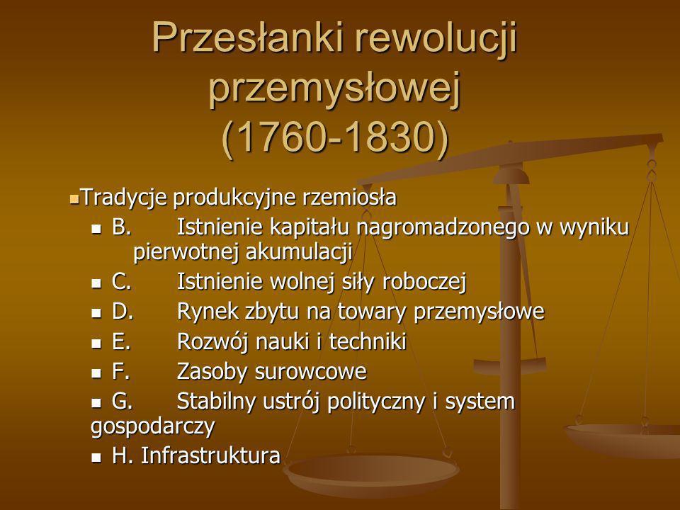 Przesłanki rewolucji przemysłowej (1760-1830) Tradycje produkcyjne rzemiosła Tradycje produkcyjne rzemiosła B.Istnienie kapitału nagromadzonego w wyni
