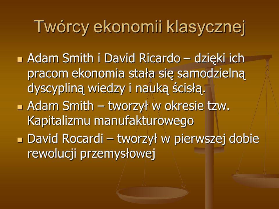 Twórcy ekonomii klasycznej Adam Smith i David Ricardo – dzięki ich pracom ekonomia stała się samodzielną dyscypliną wiedzy i nauką ścisłą. Adam Smith
