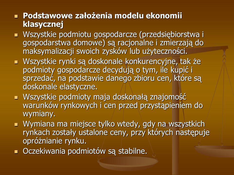 Podstawowe założenia modelu ekonomii klasycznej Podstawowe założenia modelu ekonomii klasycznej Wszystkie podmiotu gospodarcze (przedsiębiorstwa i gos
