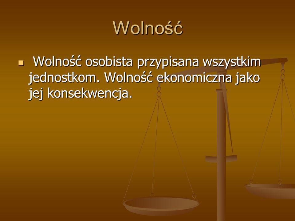 Równość Równość wobec prawa jako warunek powstania społeczeństwa obywatelskiego i rozwoju normalnej gospodarki rynkowej.