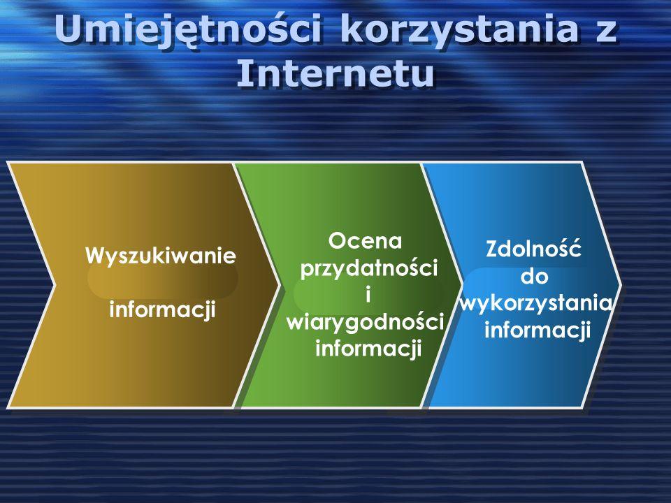 Umiejętności korzystania z Internetu Wyszukiwanie informacji Ocena przydatności i wiarygodności informacji Zdolność do wykorzystania informacji