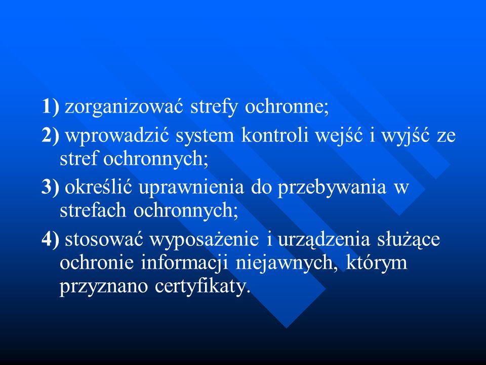 1) zorganizować strefy ochronne; 2) wprowadzić system kontroli wejść i wyjść ze stref ochronnych; 3) określić uprawnienia do przebywania w strefach oc