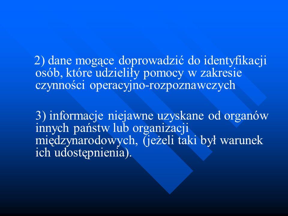 2) dane mogące doprowadzić do identyfikacji osób, które udzieliły pomocy w zakresie czynności operacyjno-rozpoznawczych 3) informacje niejawne uzyskan