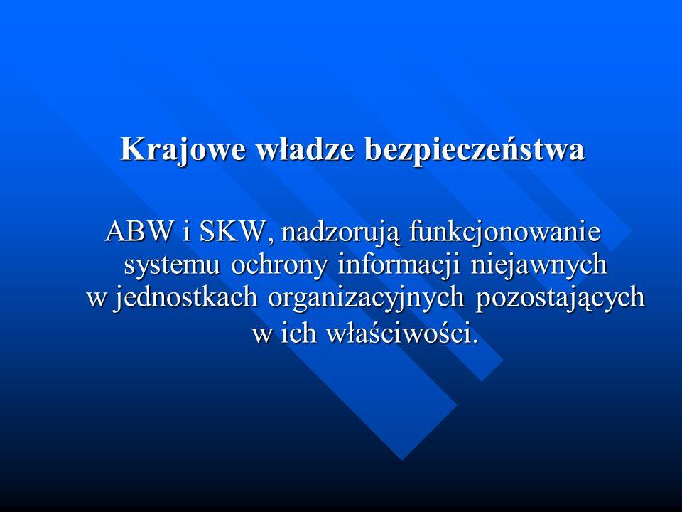 Krajowe władze bezpieczeństwa ABW i SKW, nadzorują funkcjonowanie systemu ochrony informacji niejawnych w jednostkach organizacyjnych pozostających w
