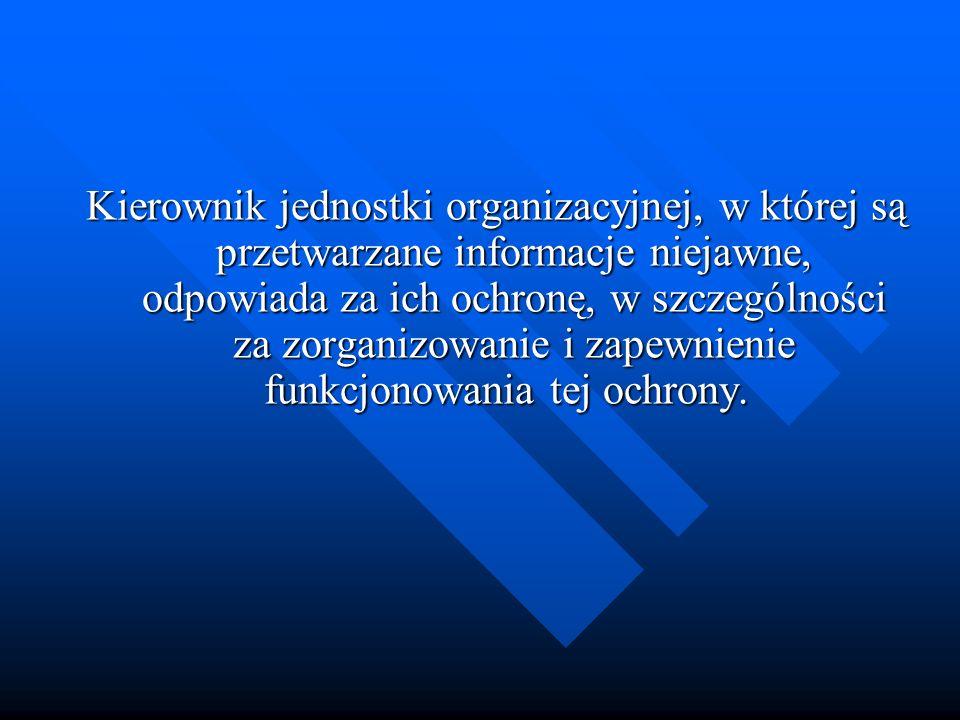 Kierownik jednostki organizacyjnej, w której są przetwarzane informacje niejawne, odpowiada za ich ochronę, w szczególności za zorganizowanie i zapewn