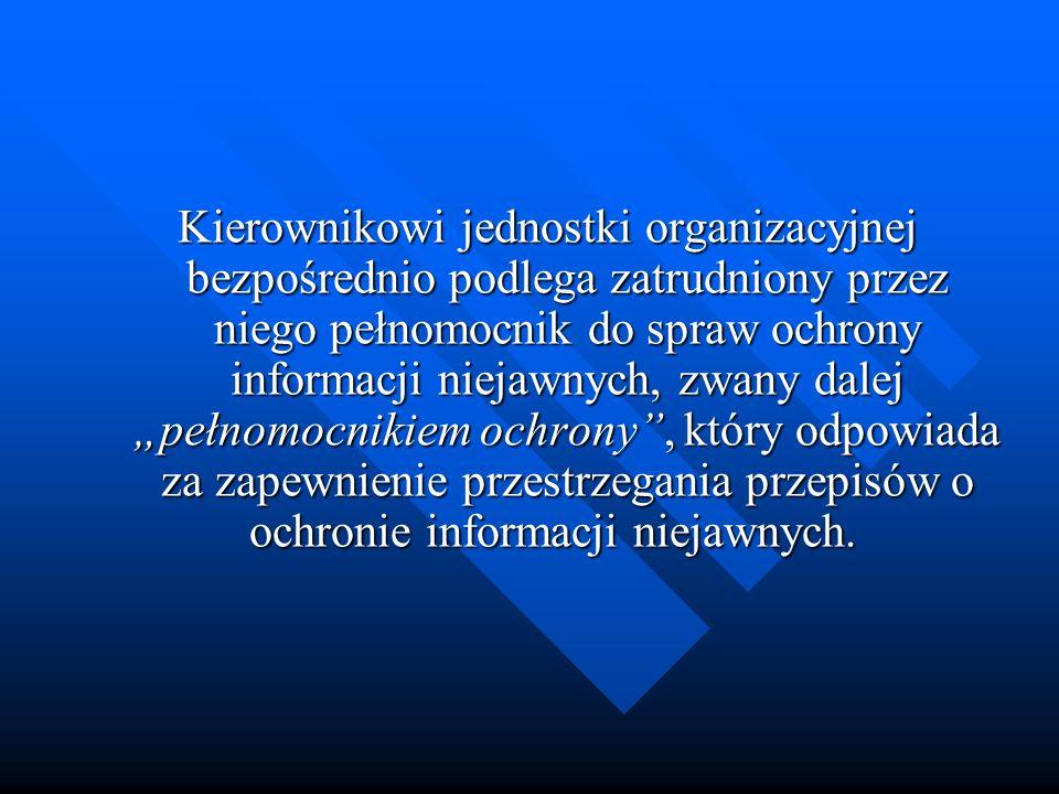 Kierownikowi jednostki organizacyjnej bezpośrednio podlega zatrudniony przez niego pełnomocnik do spraw ochrony informacji niejawnych, zwany dalej peł