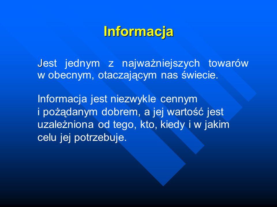 Informacja J Jest jednym z najważniejszych towarów w obecnym, otaczającym nas świecie. Informacja jest niezwykle cennym i pożądanym dobrem, a jej wart
