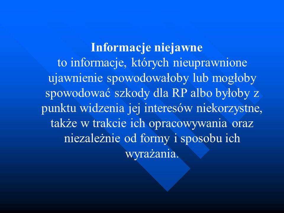 Informacje niejawne to informacje, których nieuprawnione ujawnienie spowodowałoby lub mogłoby spowodować szkody dla RP albo byłoby z punktu widzenia j