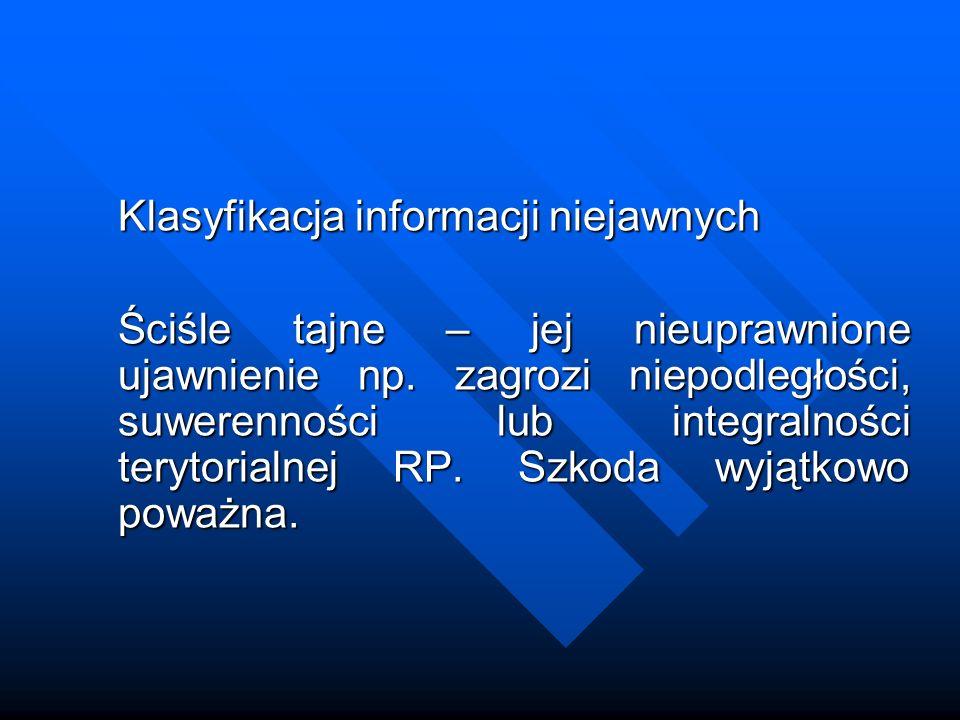 Klasyfikacja informacji niejawnych Tajne – jej nieuprawnione ujawnienie np.