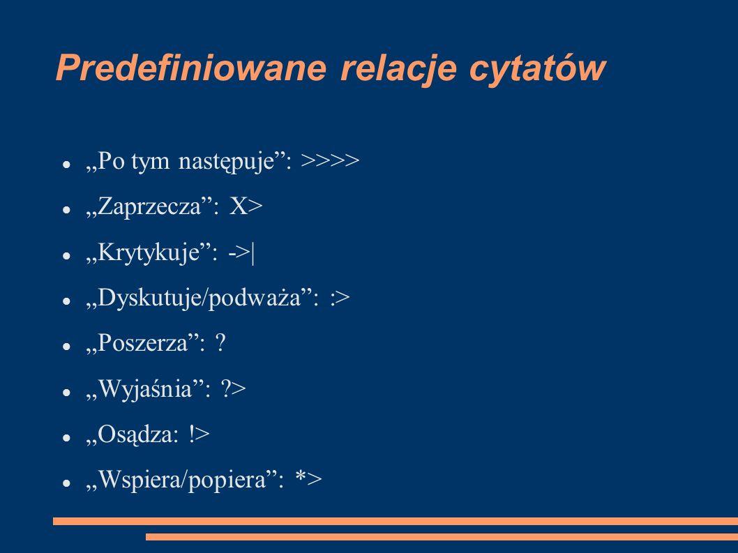 Predefiniowane relacje cytatów Po tym następuje: >>>> Zaprzecza: X> Krytykuje: ->| Dyskutuje/podważa: :> Poszerza: .