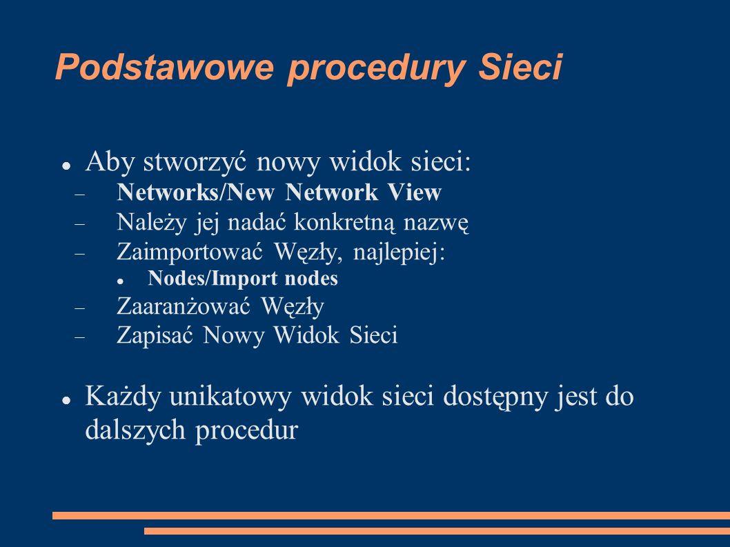 Podstawowe procedury Sieci Aby stworzyć nowy widok sieci: Networks/New Network View Należy jej nadać konkretną nazwę Zaimportować Węzły, najlepiej: Nodes/Import nodes Zaaranżować Węzły Zapisać Nowy Widok Sieci Każdy unikatowy widok sieci dostępny jest do dalszych procedur