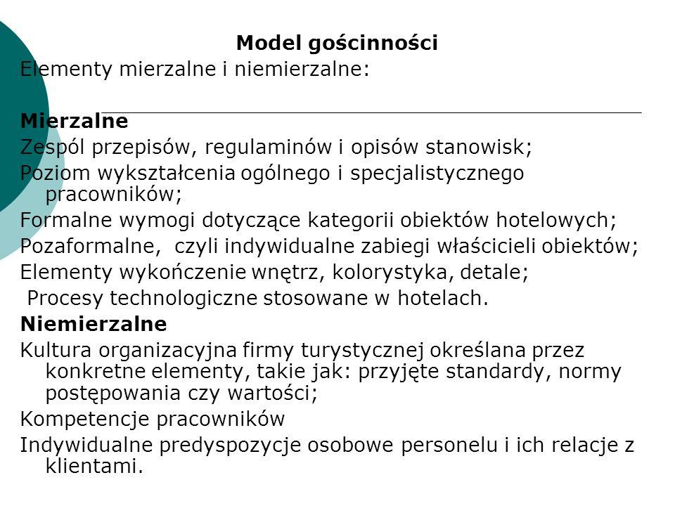 Model gościnności Elementy mierzalne i niemierzalne: Mierzalne Zespól przepisów, regulaminów i opisów stanowisk; Poziom wykształcenia ogólnego i specj