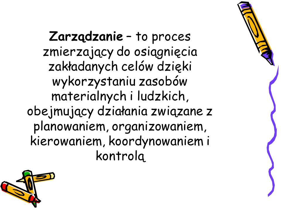 Zarządzanie – to proces zmierzający do osiągnięcia zakładanych celów dzięki wykorzystaniu zasobów materialnych i ludzkich, obejmujący działania związa