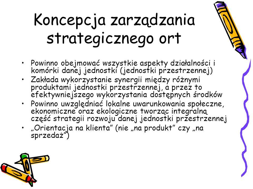 Koncepcja zarządzania strategicznego ort Powinno obejmować wszystkie aspekty działalności i komórki danej jednostki (jednostki przestrzennej) Zakłada