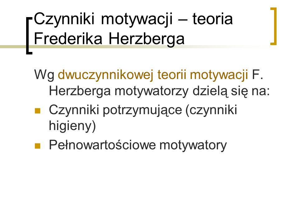 Czynniki motywacji – teoria Frederika Herzberga Wg dwuczynnikowej teorii motywacji F. Herzberga motywatorzy dzielą się na: Czynniki potrzymujące (czyn