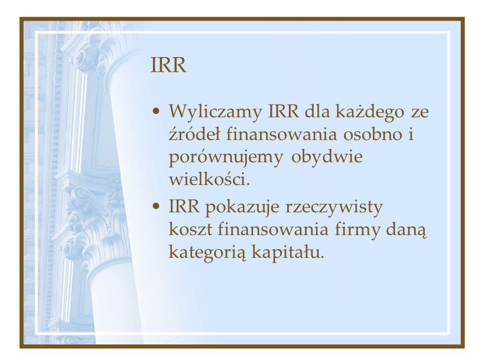 IRR Wyliczamy IRR dla każdego ze źródeł finansowania osobno i porównujemy obydwie wielkości. IRR pokazuje rzeczywisty koszt finansowania firmy daną ka
