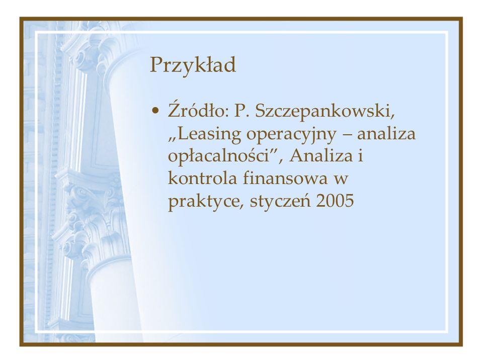 Przykład Źródło: P. Szczepankowski, Leasing operacyjny – analiza opłacalności, Analiza i kontrola finansowa w praktyce, styczeń 2005