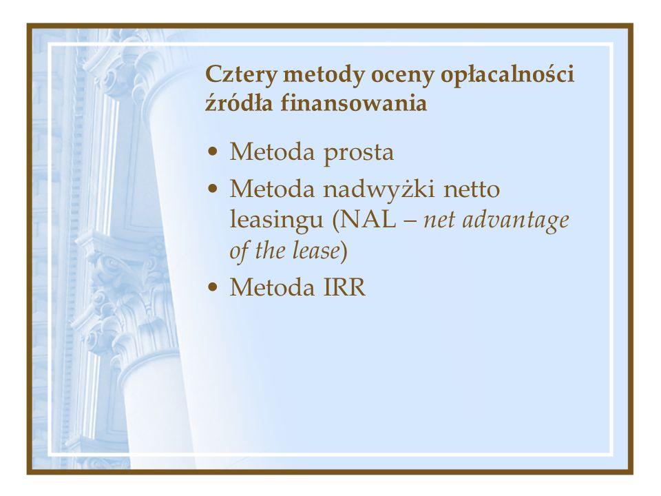 Cztery metody oceny opłacalności źródła finansowania Metoda prosta Metoda nadwyżki netto leasingu (NAL – net advantage of the lease) Metoda IRR